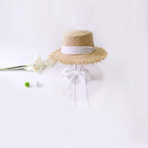 Cappelli da Sole in Rafia Intrecciata a Mano per Donna Estate all'aperto Ombrellone Cappello di Paglia Pieghevole Ragazze Nastro Nero Cappello da Spiaggia a Tesa Larga-Bianca