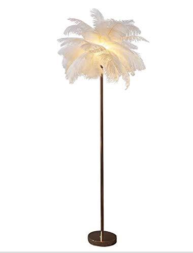 Lámpara de polo alto elegante Lámpara decorativa Avestruz Lámpara de planta de plumas Soporte Lámpara LED Lámpara de escritorio de encendido interior moderno para interiores HMKJ (Color : White)