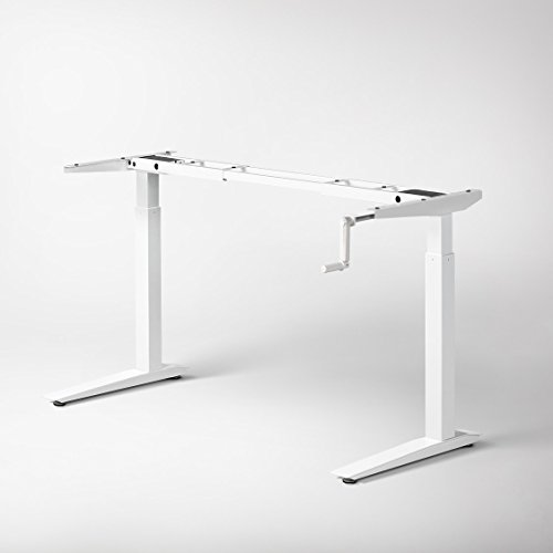 Jarvis Crank-Powered Standing Desk Frame Only - Adjustable Height Sit Stand Desk - Desk Top Not Included (White)