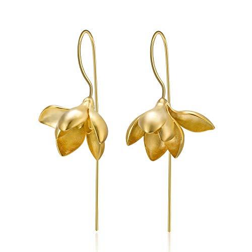 Lotus Fun S925 Sterling Silber Ohrringe Elegant Magnolie Blume Tropfen Ohrringe Kreativ Natürlicher Handgemachter Einzigartiger Schmuck für Frauen und Mädchen (Gold)