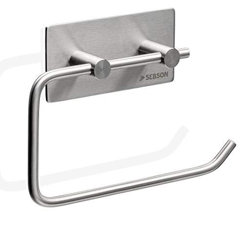 SEBSON® Toilettenpapierhalter ohne Bohren, Edelstahl gebürstet, Selbstklebender Klopapierhalter