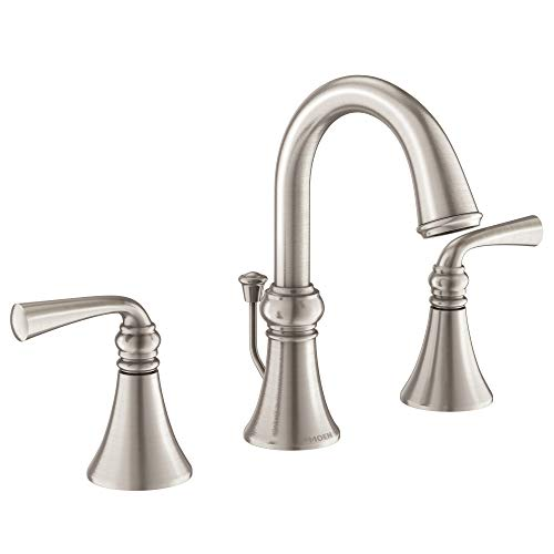 Moen WS84855SRN Wetherly Two-Handle Widespread Bathroom Faucet with Valve Included, Spot Resist Brushed Nickel