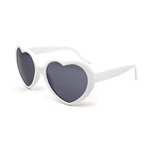 QIEZI Occhiali da Sole a Forma di Cuore, Simpatici Occhiali Vintage Stile Cat Eye, Effetto diffrazione Love Fashion Eyewear, Stile retrò