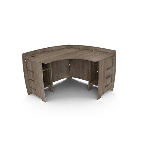 Legare Furniture Grey Driftwood L-Shaped Corner Desk with Adjustable Shelves, 47' x 47'