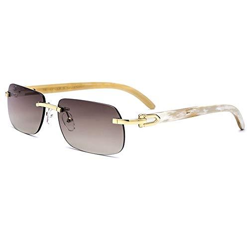 Sebasty Gafas De Sol De Material De Cuerno Blanco Gafas De Gama Alta for Hombres, Sin Borde, Hechas A Mano con Protección UV400