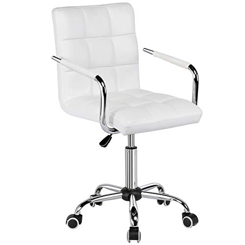 Yaheetech PU Leather Office Chairs, Desk Chair with Wheels, Ergonomic Mid Back Task Chair Adjustable Stylish Executive Chairs Pure White