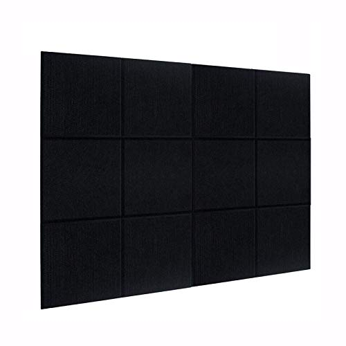 DEKIRU New 12 Pack Acoustic Foam Panels, 12 X 12 X 0.4 Inches Soundproofing Insulation Absorption Panel High Density Beveled Edge Sound Panels, Acoustic Treatment for Home&Offices (Black)