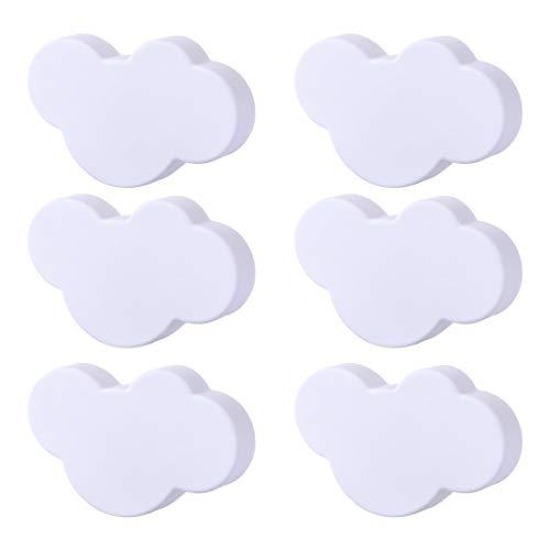 POXL Pomos y Tiradores Infantiles, 6 Pcs Nubes Pomos para Muebles Tiradores para habitación Infantil Armario/Cajón (Blanco)