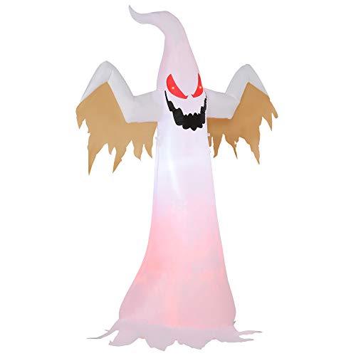 HOMCOM Halloween aufblasbares Gespenst 2,4 m Dekoration mit LEDs IP44 Selbstaufblasender Polyester Weiß + Rot 150 x 80 x 240 cm