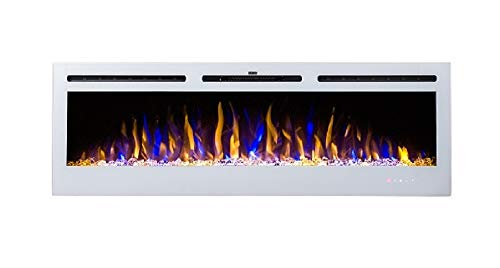 2020 New Premium Product 50inch White Wall Mounted Electric Fire with 3 Colour Flames and can be Inserted (Pebbles, Logs and Crystals)!