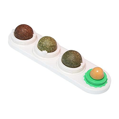 Katzenminze Spielzeug, 4 in 1 Katzenminze Ball für Katzen Set, Katzen Zuckerball Wandspielzeug mit Selbstklebendem Aufkleber Katzenernährung Leckerbissen Ball Katzenspielzeug