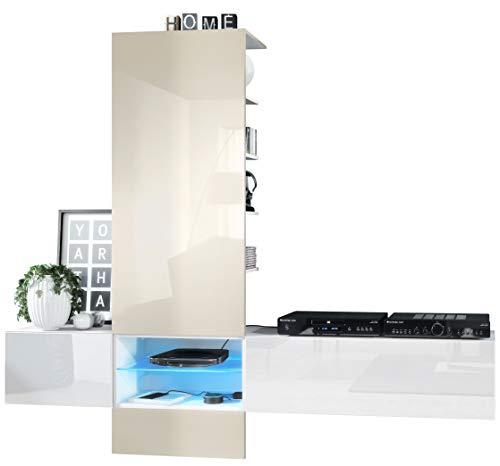 Vladon Wohnwand Anbauwand Manhattan V2, Korpus in Weiß matt/Fronten in Weiß Hochglanz, Paneel in Creme Hochglanz mit LED Beleuchtung