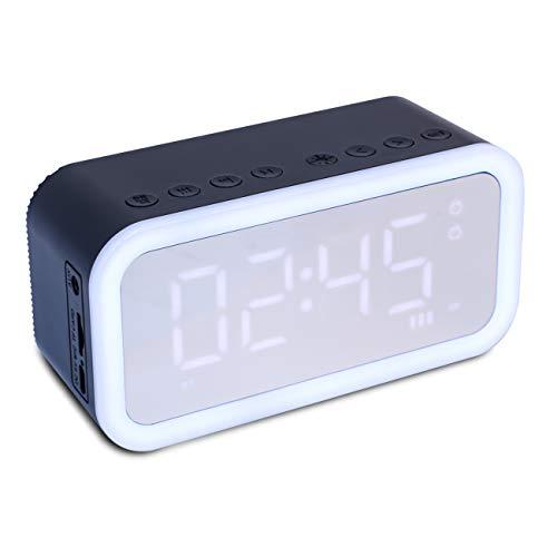 Mbuynow Reloj Despertador Digital, Altavoz Portátil Bluetooth Inteligente con Pantalla de Espejo LED con Pantalla de Temperatura, Puerto de Carga USB, 12/24 Horas