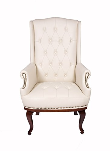 ANGEL HOME & LEISURE New Queen Anne Fireside High Back wing back cream leather chair Chesterfield type armchair (Beige)