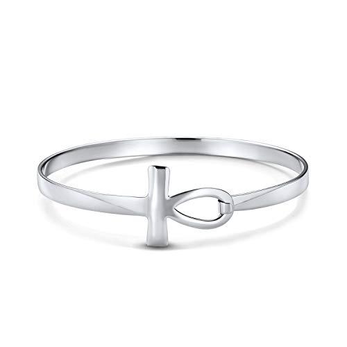 Spiritueller Schlüssel Des Lebens Seitlich Horizontale Ägyptische Ankh Kreuz Armreif Armbänder Für Frauen Teen 925 Sterling Silber