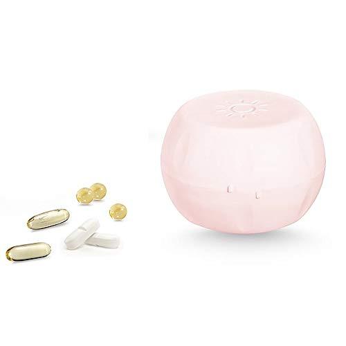 TOMYEER Pastillero de Viaje, Organizador de medicamentos, Caja para píldoras para píldoras, vitaminas y aceites de Pescado, suplemento de 14 Compartimentos, Color Rosa