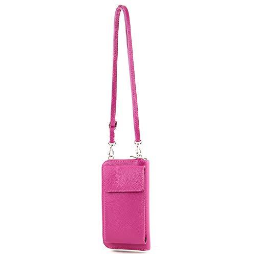 modamoda de - P06 - ital. Damen Umhängetasche Geldbörse Handytasche Leder, Farbe:Pink