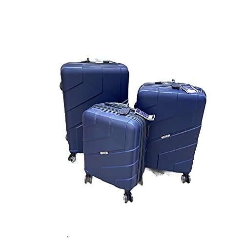 Coveri Collection 80102 - Juego de 3 maletas rígidas de ABS, 4 ruedas, color azul
