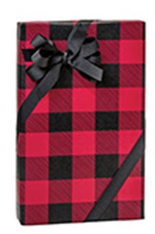 Red and Black Buffalo Plaid Holiday Fathers Day Men s Birthday Christmas Gift Wrapping Paper 12ft Folded with Labels