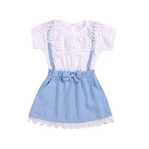 LEXUPE Kleinkind Kinder Baby Mädchen Blumen Patchwork Bogen Denim Prinzessin Kleider Kleidung(Weiß,80)