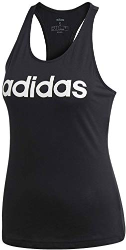 Adidas Essentials Linear Slim Tank, Tops Donna, Black/White, S 40-42