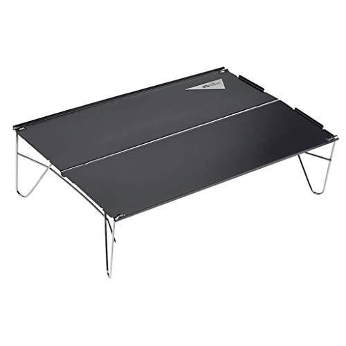 Mini mesa plegable portátil de picnic con patas de aluminio enrollable de malla superior para mesas de camping/banquetes plegables (color: negro)