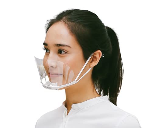 (PACK OF 5 pcs) 2021 NEW UPGRADE Premium Material Quality Transparent Face Mask Reusable Anti-Fog Open Mouth Sanitary Shield,Higher Wilder, Gym, yoga, day spas, restaurants, beauty salons, tattoo artists, catering, cooks,UltraLight
