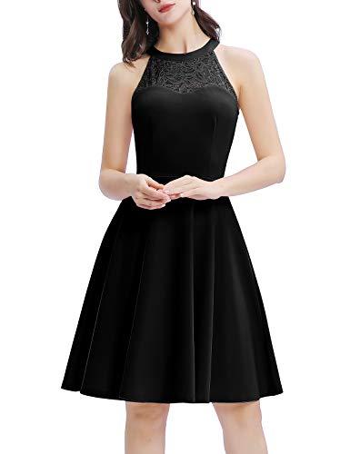 Bbonlinedress Damen Cocktailkleid Abendkleider Rockabilly Retro Vintage Neckholder Black XL