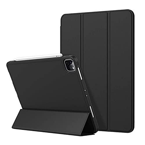 Antetek Capa para iPad Pro 11 polegadas 2021 (3ª geração), suporte para carregamento de Apple Pencil, capa inteligente com suporte triplo fino com parte traseira de TPU macio, função despertar/hibernar, capa protetora inteligente (preto)