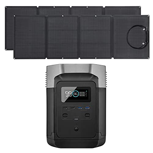 EF ECOFLOW EFDELTA Solar Generator 1260Wh with 2 X 160W Solar Panel, 6 X 1800W (3300W Surge) AC Outlets, Portable Power Station for Outdoors Camping RV High-Power Appliances Emergency