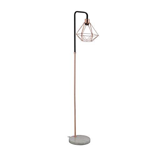 Relaxdays Stehlampe, Schirm in Diamant-Form, Marmorfuß, Wohnzimmer, E27, HxBxT 149 x 24,5 x 29 cm,...