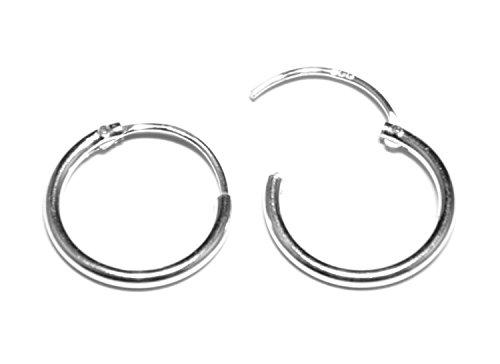 12MM Sterling Silver Hinged Hoop Sleeper Earrings