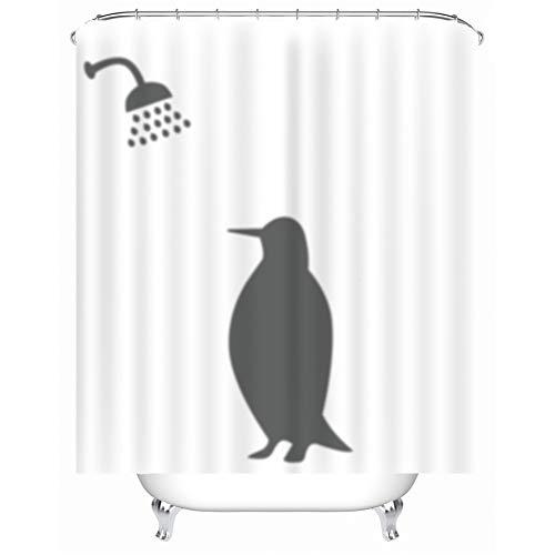 X-Labor Lustig Tier Schatten Duschvorhang 240x200cm Wasserdicht Anti-Schimmel Polyester Textil Stoff Badewannevorhang Shower Curtain Pinguin 240x200cm