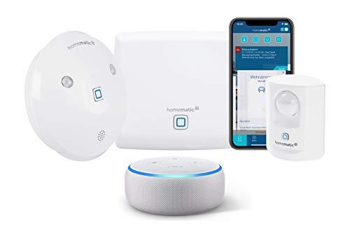 Homematic IP Smart Home Set Sicherheit, Alarm bei Bewegung per Sirene oder kostenloser App, 154593A0 + Echo Dot (3. Gen.) Intelligenter Lautsprecher mit Alexa, Sandstein Stoff