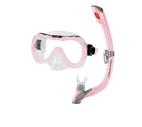 Aqua Speed – Zero Evo + Kinder Schnorchelset – Tauchermaske + Schnorchel mit einfacher Einstellung des Systems 03, Rosa