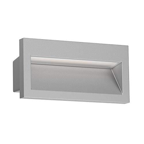ledscom.de Lámpara de pared empotrada de LED NOLA para exterior, gris, 140x70mm, blanco cálido, 3000K, 3W =21W, 200lm