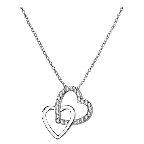 SOFIA MILANI - Damen Halskette 925 Silber - mit Zirkonia Steinen - Doppel Herz Anhänger - 50032