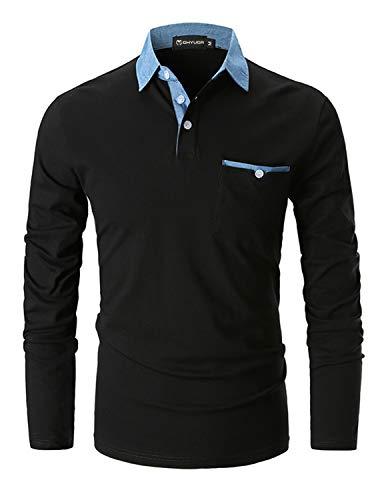GHYUGR Polo para Hombre Mangas Largas Denim Costura Camisas Algod¨®n Slim Fit Camiseta Golf Poloshirt T-Shirt Oficina BOT¨®n Cuello,Negro,M