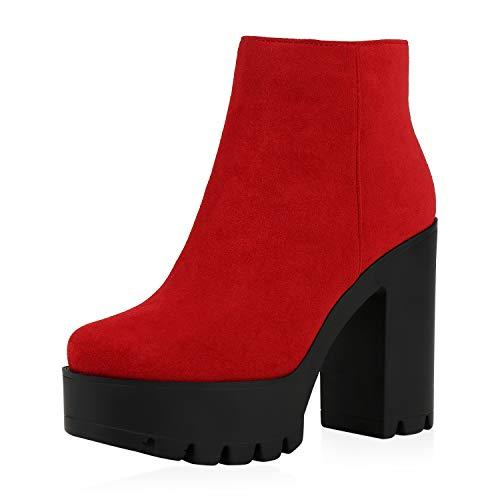 SCARPE VITA Damen Plateau Boots Leicht Gefütterte Stiefeletten High Heels Blockabsatz Schuhe Wildleder-Optik Booties Absatzschuhe 186865 Rot 38