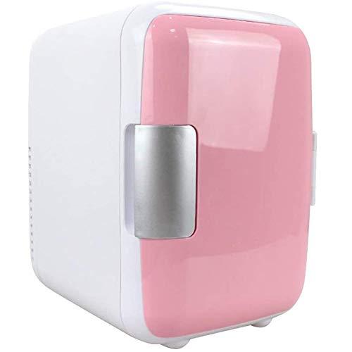 LSHOME Mini Refrigerador de 4L Refrigerador Eléctrico Refrigerador Portátil para Maquillaje de Vehículos hasta 6 Latas Adecuado para la Reunión de Campamento de Fiesta,Rosado
