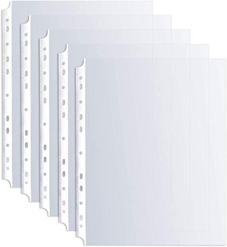 Sheet Protectors, HERKKA 200 Pack Sheet Protectors Holds 8.5 x 11 inch Sheets, 9.25 x 11.25 inch Top Loading, Clear, Reinforced 11-Hole Fit for 3 Ring Binder, Acid Free Top Loading Paper Protector