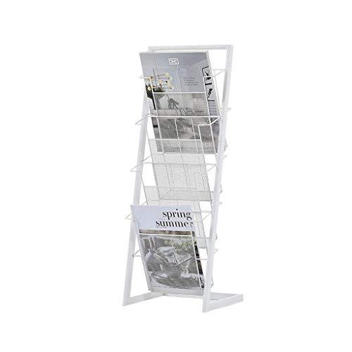 Estantería de Hierro Forjado Dormitorio de Metal Mesita de Noche Oficina Revistero Periódico Álbum Soporte de Exhibición Estante de Almacenamiento Blanco Estantería de 30X24.5X81Cm, B-S