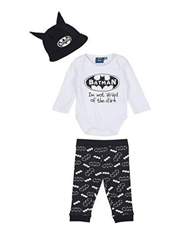 Batman- Ensemble Pantalon, Body et Bonnet bébé garçon Blanc/Noir de 3 à 24mois - Blanc/Noir, 24 Mois