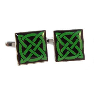 Grün Design Keltischer Knoten Manschettenknöpfe