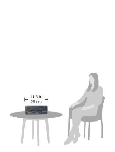 Logitech K400 Plus Kabellose TV-Tastatur mit Touchpad, 2.4 GHz Verbindung via Unifying USB-Empfänger, Programmierbare Multimedia-Tasten, Windows/Android/ChromeOS, Französisches AZERTY-Layout, schwarz