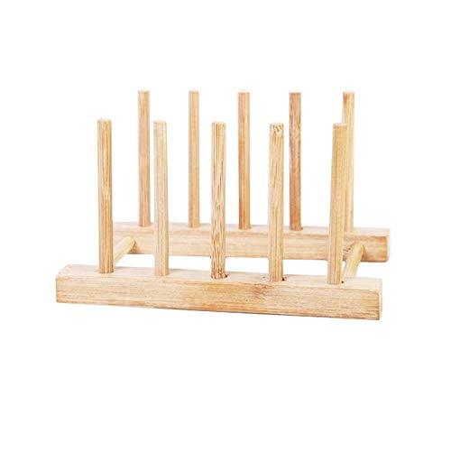 AKB Cup Drying Rack, Wooden Dish Drying Rack, Kitchen Detachable Wood Plate Drain Rack Cup Mug Storage, Pot Lid Dish Bowl Cup Display Holder, Book Storage Shelf