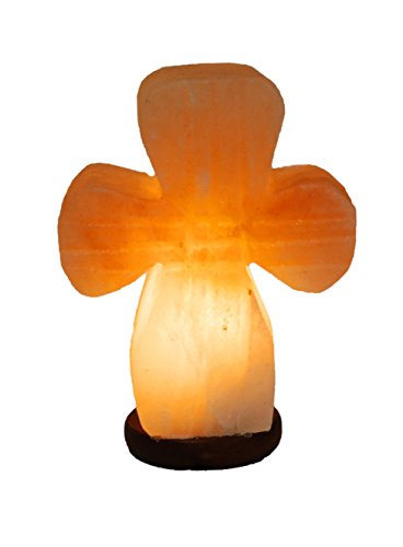 Himalayan Salt Rock Lamp Cross Shaped Large 7-9 lbs Hand Carved Salt Lamp with Dimmer Switch and Bulbs