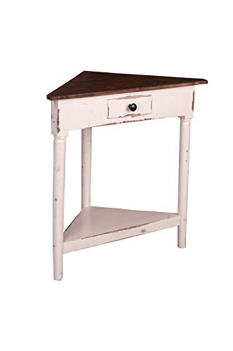 Sunset Trading Shabby Chic Cottage Corner Table, Whitewash with raftwood top