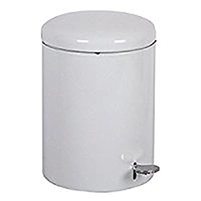 "Witt 2240WH Stainless Steel Step On Metal Biohazard Waste Container, 4gal Capacity, 11-1/2 Diameter x 16"" Height, White"