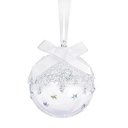 Palla di Natale Swarovski, piccola sfera con splendido nastro satinato e eleganti cristalli Swarovski.
